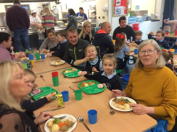 Primary 1s having Lunch with their Parents Mrs Maguire's Class