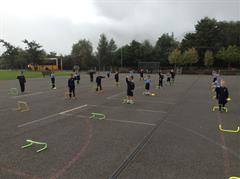 Jumping over Hurdles as part of PE